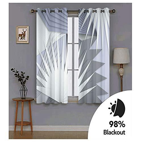 Knbob Polyester Vorhänge Grau 3D Geometrisch Überlagerung Vorhang Kinderzimmer Verdunkelung Größe 214x160CM