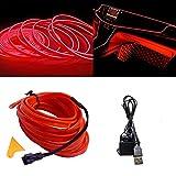 Luces de alambre de neón con adaptador USB para luces interiores de coche (rojo, 3 m)