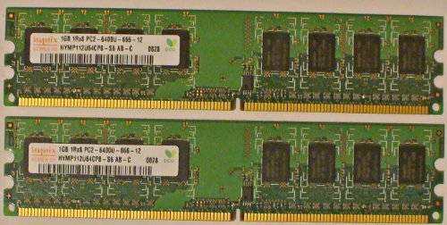 2GB Dual Channel Kit HYNIX Original 2x 1 GB 240 pin DDR2-800 (800Mhz, PC2-6400U, CL6) NON ECC, unbuffered ( 2x HYMP112U64CP8-S6 ) für DDR2 Mainboards