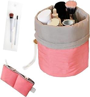 حقيبة تنظيم مستحضرات التجميل مضادة للماء للسفر بتصميم اسطواني دائري لتخزين ادوات الزينة، لون احمر