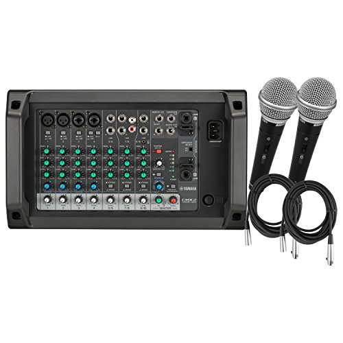 Yamaha EMX2 10-input Ultra Portable Stereo Powered Mixer having 500 W Power Amplifier , Three Stereo Inputs with 2-Set of Microphones and 2 Microphone Cables