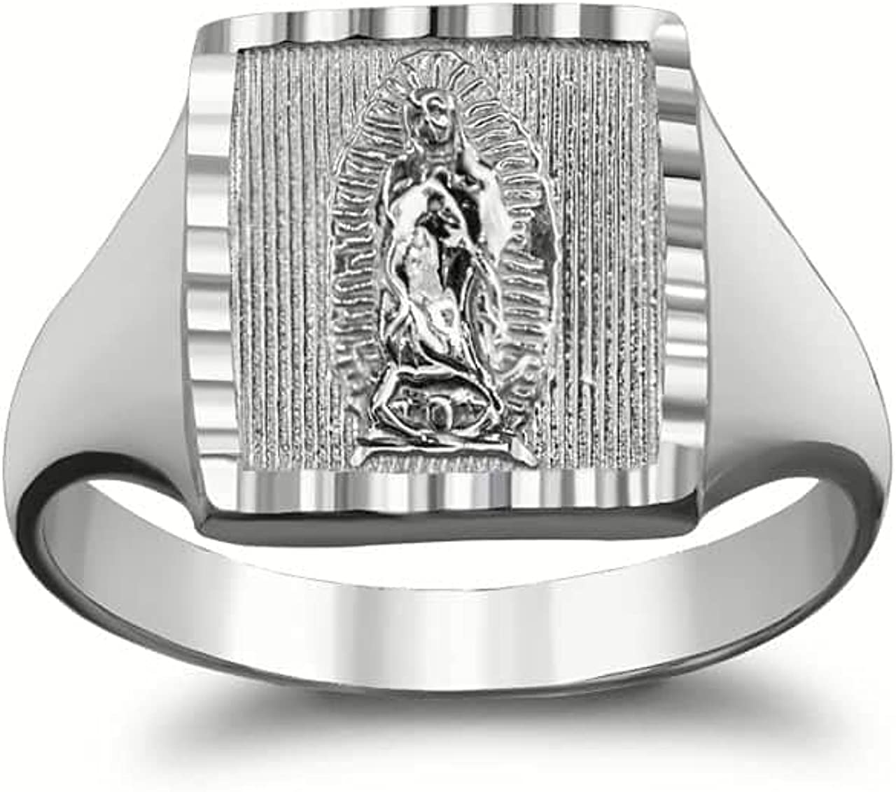 Fine Limited time cheap sale Sterling SIlver Sparkle-Cut Free shipping Square Guadalupe of Lady Signet