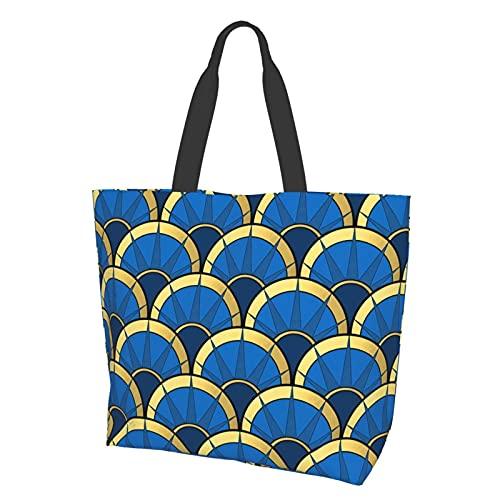 Tragetasche Schultertasche Handtasche Art Deco Fancy Fan in Marineblau und Gold Große Kapazität Reise Aufbewahrungstasche Satchel Bag für Frauen Studenten Shopping Reisen