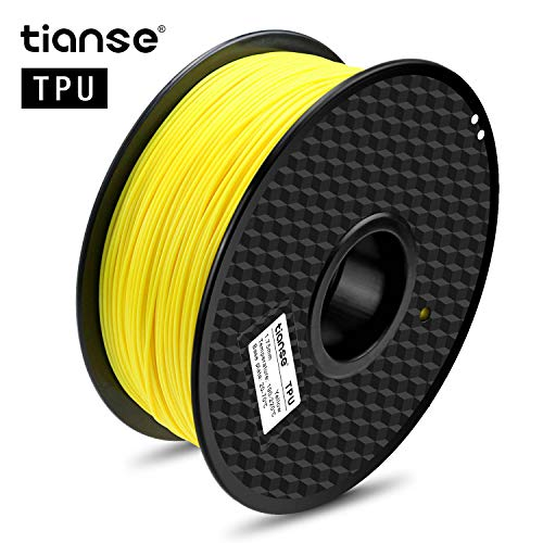 TIANSE Filamento TPU per Stampanti 3D, 1,75 mm, 1 KG, Precisione Dimensionale +/- 0,03 mm, Spool per Stampante 3D (2,2 lbs), 3D Printer Filament for 3D Printers & 3D Pens, Giallo