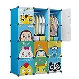 KOUSI Kid Clothes Storage Organizer Baby Dresser Kid Closet Baby Clothes Storage Cabinet for Kids Room Baby Wardrobe Toddler Closet Childrens Dresser (Blue, 42'(W) x 14'(D) x 56'(H))