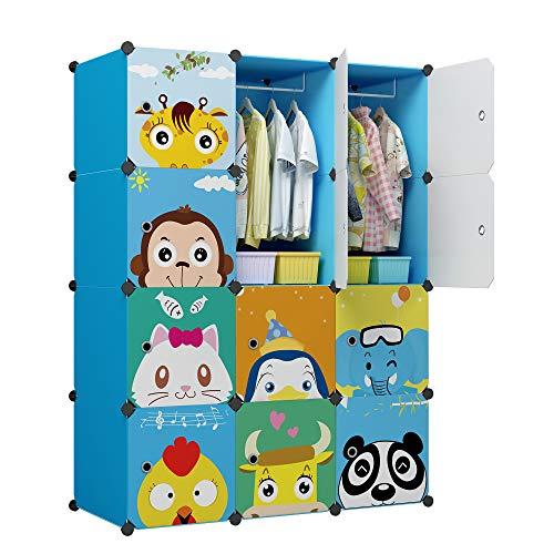 KOUSI Kid Clothes Storage Organizer Kid Closet Baby Clothes Storage Cabinet for Kids Room Baby Wardrobe Toddler Closet Childrens Dresser(Blue, 8 Cubes&2 Hanging Sections)