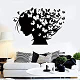 Hermosa chica pegatina de pared vinilo ventana calcomanía mujer silueta peinado mariposa peluquería niña niñas dormitorio casa decoración