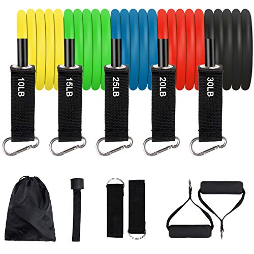 Qiyiguo 11 Pack Exercise Resistance Bands with Handles Exercise Stretch Fitness Home Set Include 5 Stackable Exercise Bands with Carry Bag, Handles, Legs Ankle Straps & Door Anchor