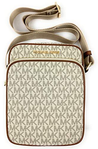 "Michael Kors Jet Set Travel Signature Medium Flight Bag Crossbody Interior Feature 1 slip pocket, Exterior feature 1 Zip front pocket and Full lenght back slip pocket Adjustable Shoulder Strap Drop Approximate 24"" Approximate Measurements 7"" L X 8.5""..."