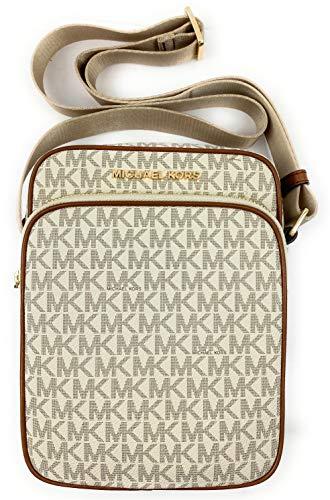 Michael Kors Jet Set Travel Signature Medium Flight Bag Crossbody (Vanilla)