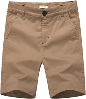 BASADINA Boys' Shorts Chino Summer Flat Front Cotton Short Fitted with Adjustable Waist 3-13 Years Old