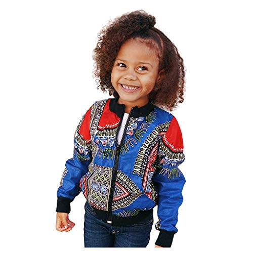Jacke Kinder Mädchen Junge Bomberjacke Herbst Übergangsjacke Afrikanischer Winddichter Mantel Warme Outwear Softshell Jacke, Blau, 12-18 Monate