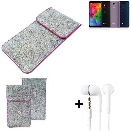 K-S-Trade® Filz Schutz Hülle Für LG Electronics Q7 Alfa Schutzhülle Filztasche Pouch Tasche Case Sleeve Handyhülle Filzhülle Hellgrau Pinker Rand + Kopfhörer