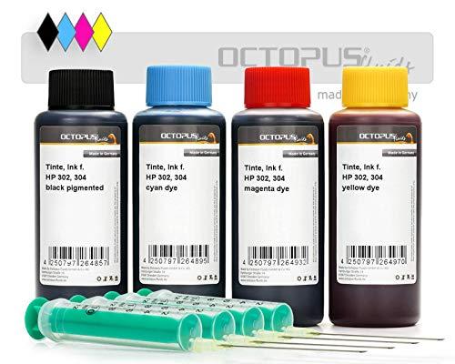 4x 100ml Druckertinte kompatibel für HP 302, HP 304 Tintenpatronen schwarz, cyan, magenta, gelb, Komplettset mit Nachfülltinte, Refillspritzen und Handschuhen (kein OEM)