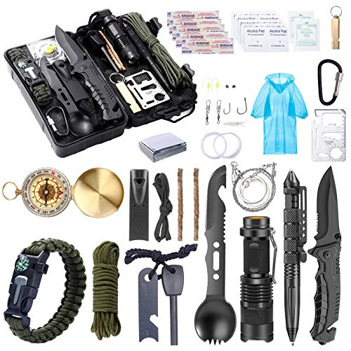 WEREWOLVES Survival Kit 40 in 1 Professional Survival Gear with Survival Bracelet,Fire Starter,Whistle,Wood Cutter,Tactical Pen, for Travel Hike Field Camping,Father,Boyfriend,Boy Scout's Best Gift