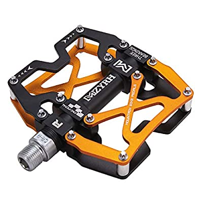"""MZYRH Mountain Bike Pedals, Ultra Strong Colorful CNC Machined 9/16"""" Cycling Sealed 3 Bearing Pedals (Black Black Glod 3 Bearings)"""