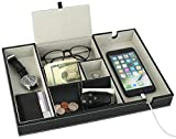 Leather Desktop Storage Organizer, Multi Catchall Tray, Valet Tray, Nightstand or Dresser Organizer - 6 Compartment Wallet, Phone, Keys, Jewelry, Money, Accessories - Anti-Scratch Felt Bottom
