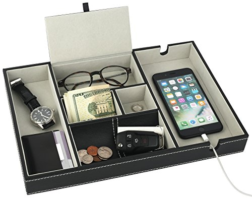 Leather Desktop Storage Organizer, Multi Catchall Tray, Valet Tray, Nightstand or Dresser Organizer - 6 Compartment Wallet, Phone, Keys, Jewelry, Money, Accessories - Anti-Scratch Felt Bottom