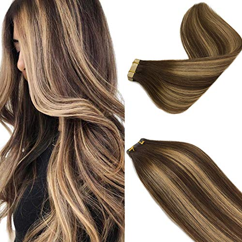 Labeh Tape in Hair Extensions Ombre Chocolate Brown to Caramel Blonde...
