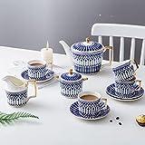 TUZIOUBA Taza de té de la Tarde Copa de café Cerámica Set Azul Té Plato Northern Europa Simple Tarde (Color : 11 PCS)