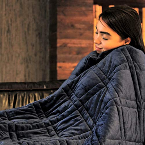 Pine and River Ultra Plush Weighted Blanket -Great for Winter | Minky Warm Luxury - (60'x80', 15 lb) | Designer Blanket | One Piece Construction | Enjoy Quality Sleep Anywhere
