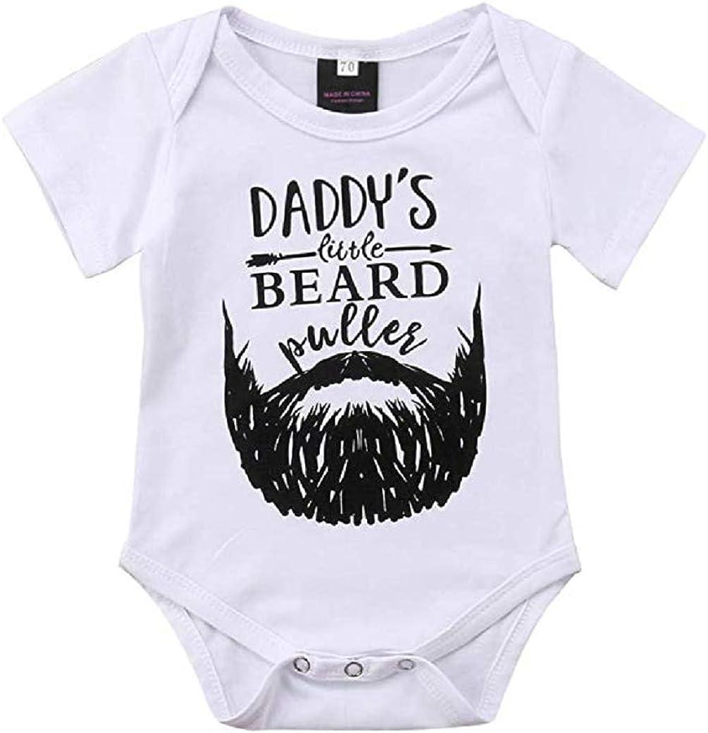 Koloyooya Newborn Boys Short Sleeve Daddy's Little Beard Puller Cotton Bodysuit Jumpsuit