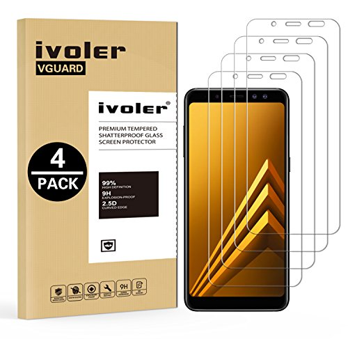 ivoler [Pack de 4] Verre Trempé Compatible avec Samsung Galaxy A8 2018, Film Protection en Verre trempé écran Protecteur vitre
