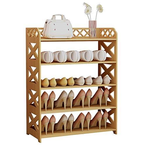 Zapateras Rack de zapatos Ensamblaje fácil Hogar Gabinete de zapatos de 5 capas Múltiples funciones económicas Rack de zapatos Ahorre espacio Alto 80 cm × ancho 60 cm (color natural) Estantería de Zap