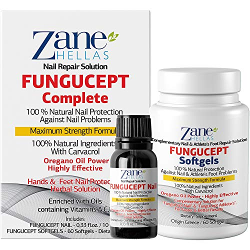 Zane Hellas FunguCept Complete. Nail Solution for Discolored, Thickened and Crumbled Nails Visible Results in 4 Weeks.0.33 oz -10ml and 60 Softgels