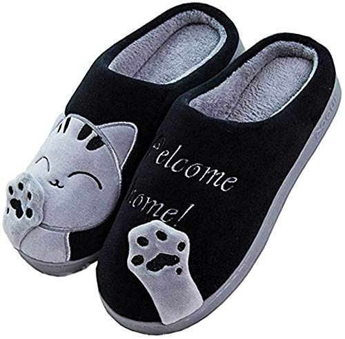 JACKSHIBO Herren Hausschuhe, Warme Plüsch Hausschuhe Indoor rutschfeste Slippers Cartoon Cat Pantoffeln Für Damen