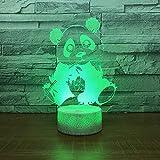 Jinson well Lámpara 3D con diseño de oso panda con ilusión óptica, luz nocturna, 7 cambios de color, interruptor táctil, mesa de escritorio, lámpara decorativa perfecta con acrílico USB juguete