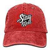 rtuuruyuy Stay Woke Retro Washed Dyed Cotton Adjustable Plain Cap Low Profile