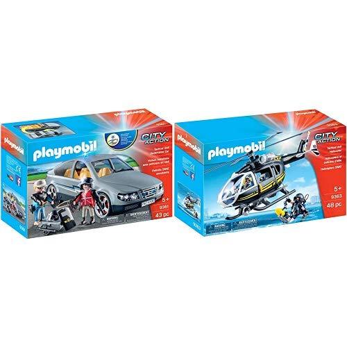 Playmobil 9361 - SEK-Zivilfahrzeug Spiel &  9363 - SEK-Helikopter Spiel