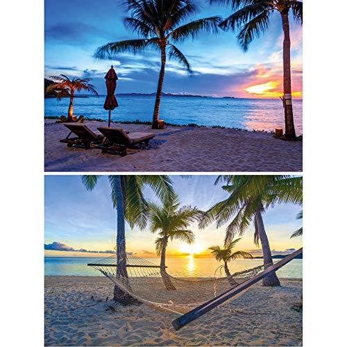 GREAT ART Set de 2 posters XXL - playas de ensueño crepúsculo y puente colgante anochecer mar tarde naturaleza paisaje mural decoración mural póster foto de la pared (140 x 100 cm)