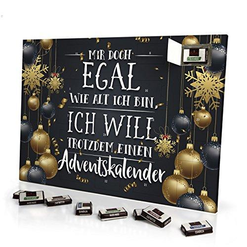 printplanet - Adventskalender Mir doch Egal wie alt ich Bin, ich Will trotzdem einen Adventskalender - mit Schokolade - Design Weihnachtskalender, Schoko-Adventskalender mit Spruch - 2020