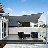 AXT SHADE Toldo Vela de Sombra Rectangular 2 x 3 m, protección Rayos UV Impermeable para Patio, Exteriores, Jardín, Color Gris