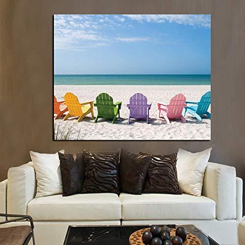 SRDFDF Crystal Ocean and Blue Sky Seascape Canvas Painting Silla de Playa Imprimir en Lienzo Pop Art Picture Wall Painting (60x100cmx1 sin Marco)