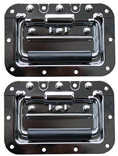 2x Klappgriff medium gefedert Einbauschale 9mm 160x107 mm Case Rack