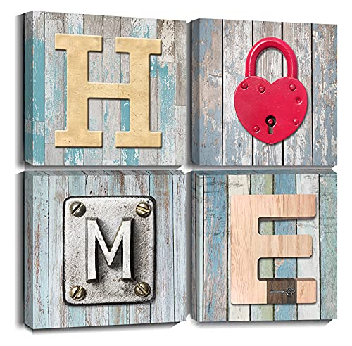 AWLXPHY Decor Home Sweet Canvas Wall Art for Bathroom Decor 12x12 Modern Blue and Red Heart Lock Home Print Painting Framed 4Pcs/Set for Nursery Bedroom Decoration Teal Stretched Artwork on Wood Giclee small