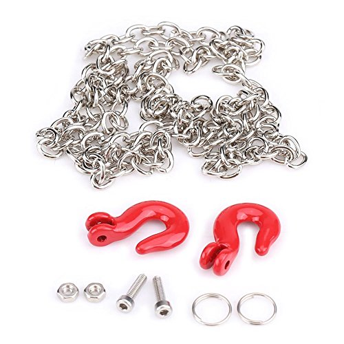 RC Trailer Hooks, Metal Chain Hooks Truck Tow Hooks for SCX10 D90 1:10 RC Crawler Climbing Car, 0.2x0.5x0.8 Inch