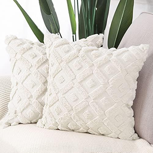 MADIZZ Pack of 2 Soft Plush Short Wool Velvet Decorative Throw Pillow...