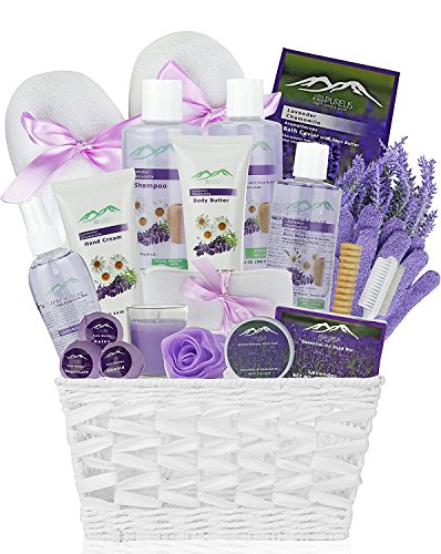 Premium Deluxe Bath & Body Gift Basket. Ultimate Large Spa Basket! #1 Spa Gift Baskets for Women (Lavender Chamomile)