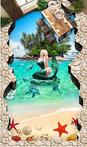 Suelo De Pvc 3D Impermeable Mural De Pared Personalizado Pintura De Suelo Papel Fotográfico De Murales De Pared 3D Isla De La Sirena-300Cmx210Cm