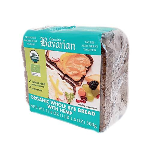 Genuine Bavarian Organic Whole Rye Bread With Hemp 17.6oz (6 packages)