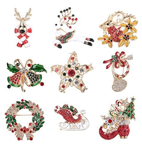 Adramata Mehrfarbige Strass Kristall Weihnachten Brosche Pins für Frauen Männer Urlaub
