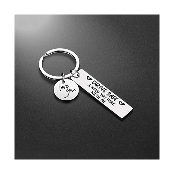 Drive Safe Keychain Gifts for Boyfriend – I Need You Here With Me Driver Keyring Boyfriend Husband Gifts from Girlfriend Wife, Valentine's Day Birthday Gifts for Him