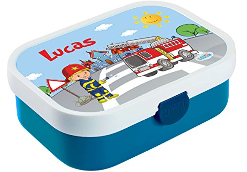Mein Zwergenland Brotdose Mepal Campus inkl. Bento Box und Gabel mit eigenem Namen Blau, Feuerwehr