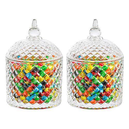 ComSaf Bomboneras de Cristal con Tapa - Conjunto de 2, Bote Cristal para Galletas Caramelo de Menta Tarro de Dulces Chuches (Diámetro: 9,5CM)