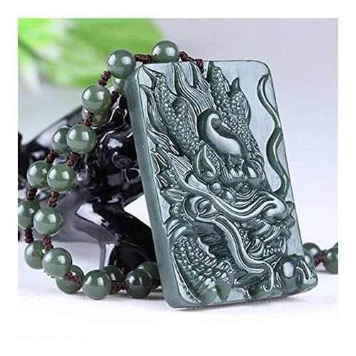 YUNGYE Natürliche Xinjiang Hetian Jade-Drachen Grau Jade-Drachen-Anhänger Sub-Männer Jade Halskette Tierkreis-Drache-Muster