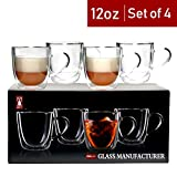 Bely Strong Double Wall Insulated Glass Coffee Mugs,Set of 4,12 oz,Clear Glass Coffee Tea Cups With Handle,Espresso Mugs,Latte Mugs,Cappuccino Cups,Beer Glasses,Dishwasher & Microwave Safe